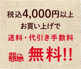 税込4,000円以上お買い上げで送料・代引き手数料 無料!